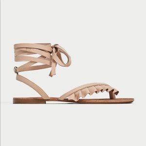 Zara Leather Sandals Size 37
